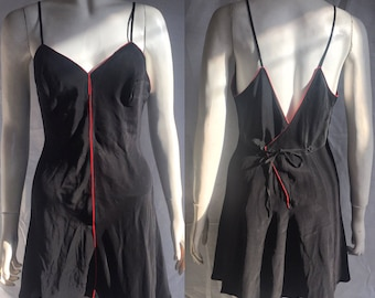 Black and red 1930s silk step in/ teddy