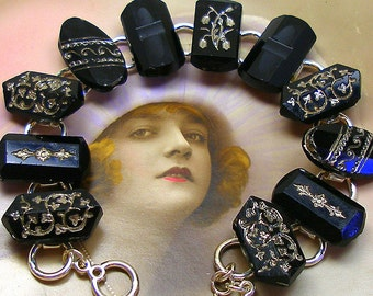 "1800s BUTTON  bracelet, Victorian black glass with silver, 7.75"" bracelet. Antique button jewellery."