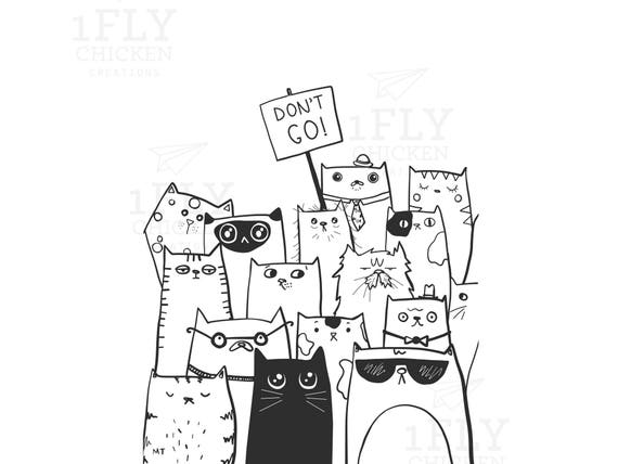 Printable DonT Go Goodbye Cats Greeting Card From All