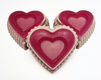 Chocolate Covered Strawberry Soaps (3), Valentines Day Soap, Heart Soap, Goats Milk, Glycerin Soap, Love Soap, Gift Ideas, Bath Soap