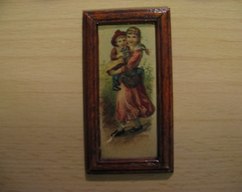 For the dollhouse: old painting, children, girl child ... 50s