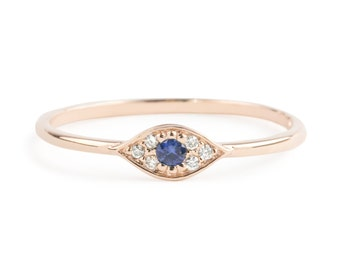 Evil eye ring, 14k rose gold with blue sapphire and white diamonds, Evil eye jewelry, gold white gold option