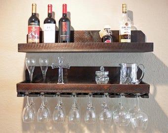 "32"" Rustic Wine Rack | Shelf & Hanging Stemware Glass Holder Organizer | Wood Wine Rack Wall Mounted Wine Bottle Holder Bar Shelf"