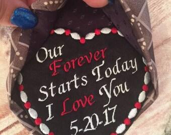 Groom Gifts, Groom Bride gift, Tie Patch, Wedding Tie Patch, Groom Tie Patch, Embroidered Tie, Personalized Patch, Wedding gift