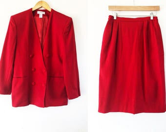 Saville Suit Vintage 1990's Double Breasted, Red Two Piece Blazer and Skirt Suit / Wool Women's Suit