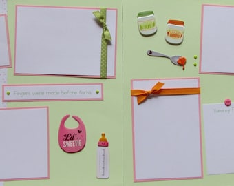 Premade 12x12 Scrapbook Pages - MESSY FACE - baby's first foods, feeding baby, eating, baby girl first year album, baby eating 1st food