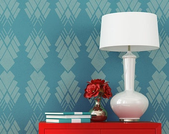 Art Deco Diamonds Wallpaper Wall Stencil for Paining Modern Accent Wall