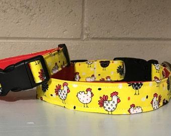 Yellow & Red Chicken Print Dog / Cat / Pet Collar