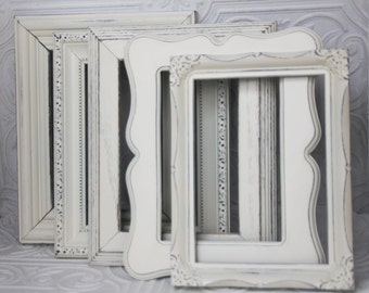 Cream Frame Set Of Five Shabby Chic Vintage Hand Painted Distressed Frames