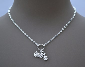 """MOTORBIKE O Ring CHARM Necklace, Silver Plated Cable Chain, Handmade 16"""" 18"""" 20"""""""