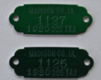 Vintage 1980 Green Metal Madison Iowa Dog Numbered Tags Unused