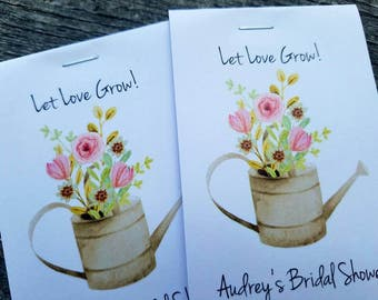 Rustic Floral Watering Can Let Love Grow Flower Seed Packet Favor Shabby Chic Cute Favors for Country Bridal Shower Wedding Birthday kraft