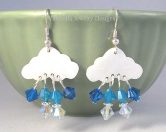 Storm Clouds sterling silver earrings mother of pearl earrings swarovski crystal rain drop earrings rainy day french wire teen jewelry cloud