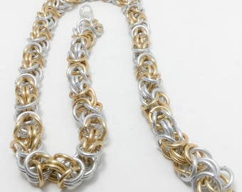 Silver and Gold Chainmaille Byzantine Weave Necklace