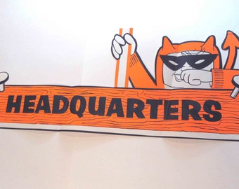 Vintage Large Halloween Headquarters Store Decoration or Sign with Devil Monster Costume