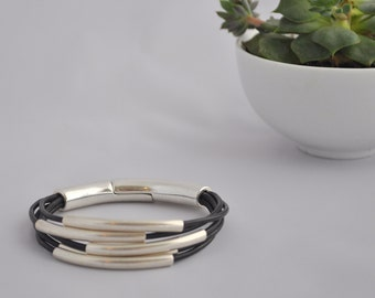 Multi Strand Leather and Silver Tube Bead Bracelet Cuff Layered Bangle Women's Bracelet  with Magnetic Clasp