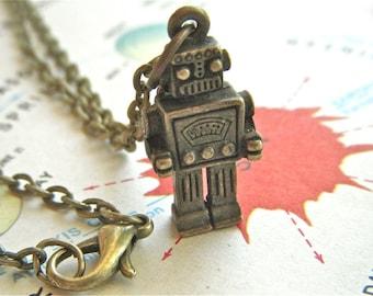 Robot Necklace Antiqued Bronze Steampunk Robot Steampunk Necklace Brass Chain