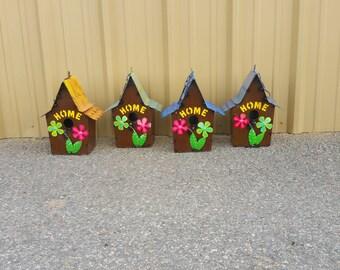 Metal Birdhouses. Colorful bird houses. birdhouses. rustic metal birdhouses.rustic birdhouses. Yard decor. Garden decor. Summer decor.