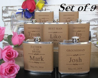 Set of 9 Groomsmen and Bridesmaids Gift Leather Flask Set // Mother and Father of Bride and Groom Flasks // Best Man and Matron of Honor