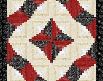 Twisted Log Cabin Quilt Pattern, 4961-1, pieced wall Quilt, wall quilt pattern