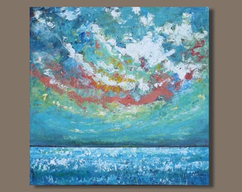 FREE SHIP abstract painting, cloud painting, sky painting, square format, ocean painting, landscape painting, turquoise blue, modern art