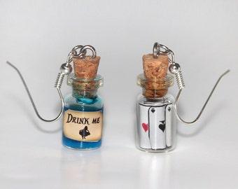 Drink Me Earrings - Fairy Tale Earrings - Alice in Wonderland earrings - Kawaii Earrings
