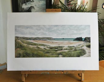 Pembrokeshire Beach Limited edition print Acrylic painting Giclee print Beach Landscape picture wales pembrokeshire Art Gift Decor Canvas