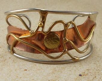 Artisan Copper and Brass Wirework Cuff Bracelet