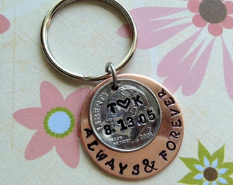 10 Year Anniversary/ Always and Forever Keychain Hand Stamped Dime  /2008  Couple Gift/ Wedding /Key Chain/ Gift for Her Gift For Him