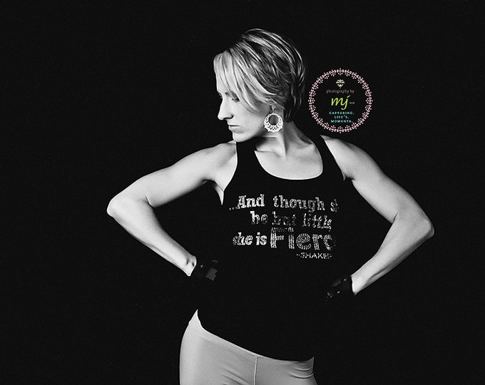Kickboxing tank Top. And Though She Be But Little she is FIERCE Lace Tank Top. Ladies workout Rhinestone Workout Ribbed Tank. Fitness Tank.