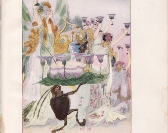 Antique Victorian Art Print-Book Plate-Lithograph-Fairies-New Year's Eve Fairy-Artist Penny Ross-1914