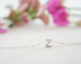 "Silver Letter, Alphabet, Initial capital  ""Z"" necklace, birthday gift, lucky charm, layered necklace"