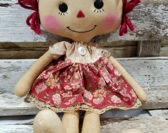 Raggedy Annie Samantha Annie Primitive Doll Raggedy Ann Red And Pink Floral Dress Annie Doll Ready To Ship!