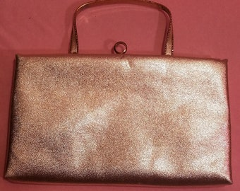 Vintage After Five 1950's Gold Evening Handbag Gold Lame