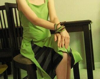 Sleeveless Midi Dress with Striped Panels - Green - Small