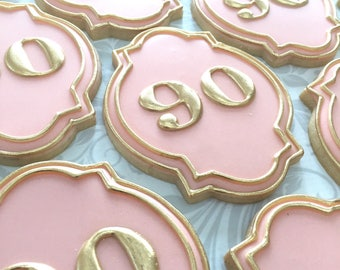 Gold Highlighted Birthday / Anniversary Cookies - One Dozen Decorated Cookies