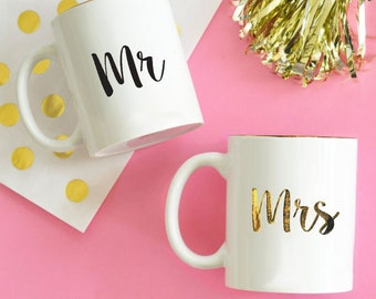 Mr & Mrs Coffee Mug- Wedding Gifts - Bride and Groom - Bride to be - Personalized Gifts -
