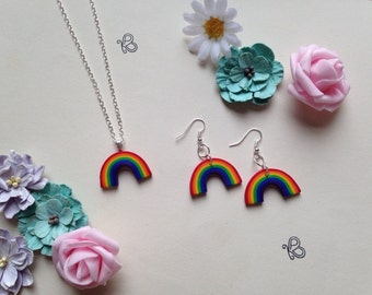 Handmade unique rainbow , necklace or earrings x