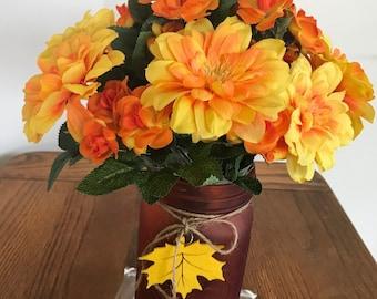 Fall flowers/mason jar vase