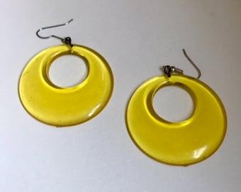 Lemon Yellow Vintage Hoop Dangle Earrings