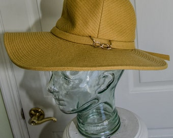 Vintage Late 1960s Mustard Yellow Wool Mod Floppy Hat