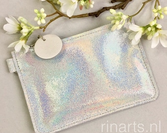 Leather purse / coin wallet ZIPP with holographic rainbow coloured leather. Hologram leather purse. Personalised purse. Gift for her