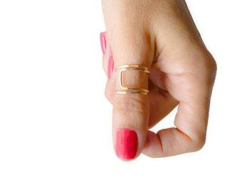 Gold Filled Thumb Ring Index Finger Mid Finger Ring Adjustable Ring For Women Handmade Hammered Ring