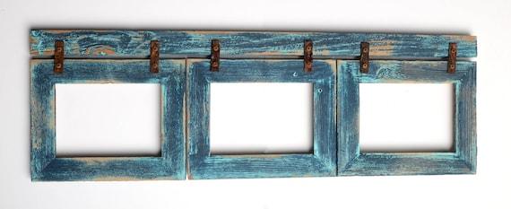 Barnwood Collage Turquoise Frame 3 5x7 Multi Opening