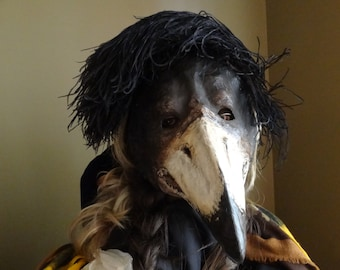 Plague Doctor mask, Paper mache mask, crow mask, raven mask, bird mask, bird costume, masquerade mask, masquerade men, Halloween mask