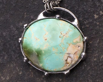 Dark and Mint Green Royston Turquoise Oval Necklace Pendant