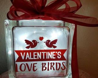Valentine's Love Birds Glass Block