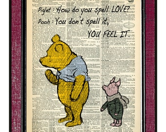 WINNIE The POOH & PIGLET 4 Pooh Quote Pooh Bear Winnie The Pooh Baby Shower Book Art Print Pooh Poster Pooh Nursery Print Girlfriend Gift