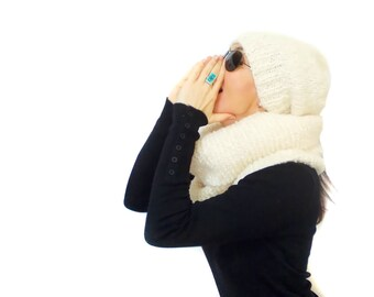 Handknit hat scarf set, knitting scarf set, free shipping, slouchy cream beanie hat scarf, neck warmer, Shoulder warmer