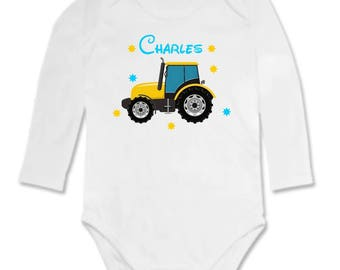 Tractor personalized with name Bodysuit